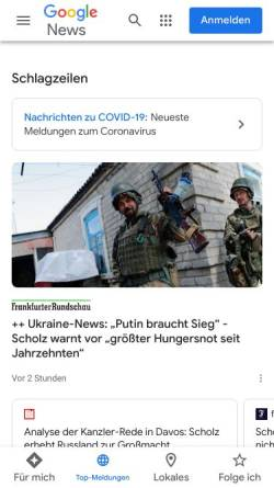 Vorschau der mobilen Webseite news.google.de, Google News