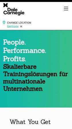 Vorschau der mobilen Webseite www.dalecarnegie.de, Dale Carnegie Training Deutschland GmbH