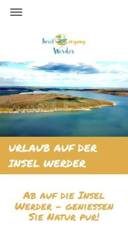 Vorschau der mobilen Webseite www.inselcamping-werder.de, Inselcamping Werder Alt Schwerin
