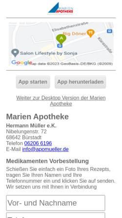 Vorschau der mobilen Webseite www.apomueller.de, Marien-Apotheke, Biotheke und Wellness Müller