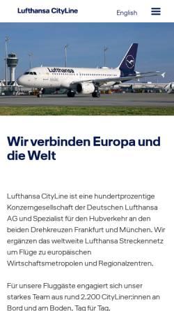 Vorschau der mobilen Webseite www.lufthansacityline.com, Lufthansa CityLine GmbH