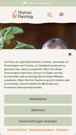 Vorschau der mobilen Webseite humusfarming.de, Eco-Dyn, Friedrich Wenz