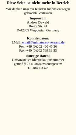 Vorschau der mobilen Webseite www.miniaturen-versand.de, Miniaturen Versand