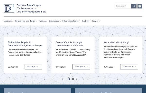 Vorschau von www.datenschutz-berlin.de, Berliner Beauftragter für Datenschutz und Informationsfreiheit