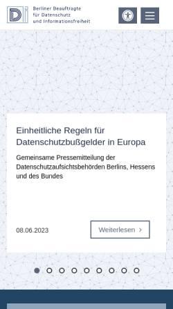 Vorschau der mobilen Webseite www.datenschutz-berlin.de, Berliner Beauftragter für Datenschutz und Informationsfreiheit