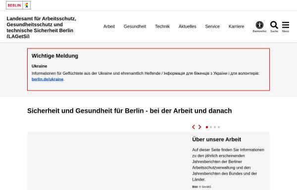 Vorschau von www.berlin.de, Landesamt für Arbeitsschutz, Gesundheitsschutz und technische Sicherheit Berlin ( LAGetSi)