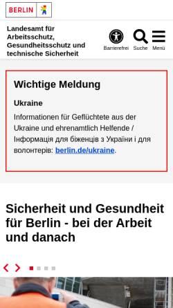 Vorschau der mobilen Webseite www.berlin.de, Landesamt für Arbeitsschutz, Gesundheitsschutz und technische Sicherheit Berlin ( LAGetSi)