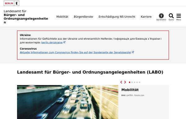Vorschau von www.berlin.de, Landesamt für Bürger- und Ordnungsangelegenheiten (LABO)