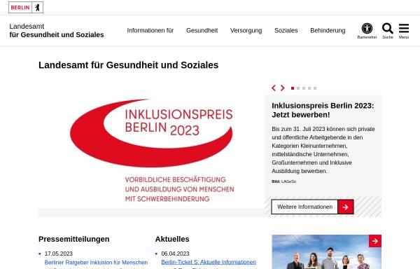 Vorschau von www.berlin.de, Landesamt für Gesundheit und Soziales (LAGeSo)