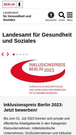 Vorschau der mobilen Webseite www.berlin.de, Landesamt für Gesundheit und Soziales (LAGeSo)
