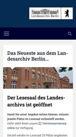 Vorschau der mobilen Webseite www.landesarchiv-berlin.de, Landesarchiv Berlin