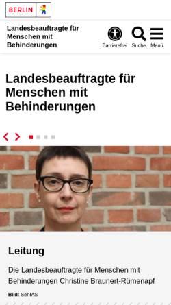 Vorschau der mobilen Webseite www.berlin.de, Landesbeauftragter für Behinderte