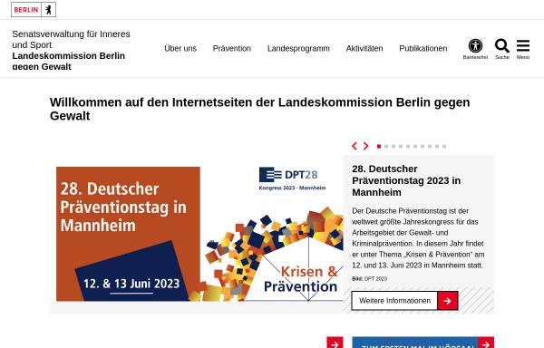 Vorschau von www.berlin.de, Landeskommission Berlin gegen Gewalt