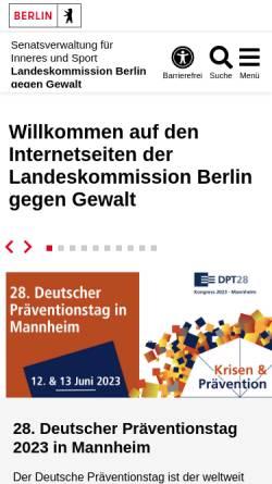 Vorschau der mobilen Webseite www.berlin.de, Landeskommission Berlin gegen Gewalt