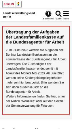 Vorschau der mobilen Webseite www.berlin.de, Landesverwaltungsamt Berlin