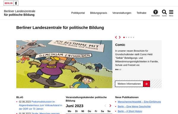 Vorschau von www.berlin.de, Landeszentrale für politische Bildungsarbeit