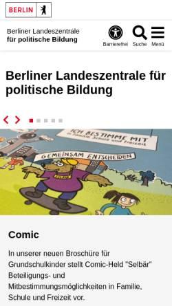 Vorschau der mobilen Webseite www.berlin.de, Landeszentrale für politische Bildungsarbeit