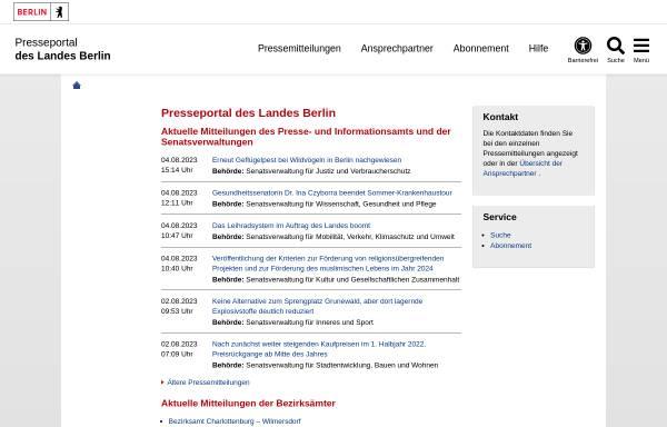 Vorschau von www.berlin.de, Pressemeldungen des Landes Berlin