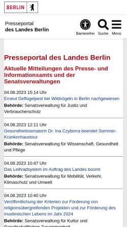 Vorschau der mobilen Webseite www.berlin.de, Pressemeldungen des Landes Berlin