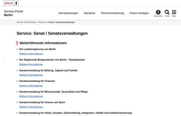 Vorschau von www.berlin.de, Senatsverwaltung für Bildung, Wissenschaft und Forschung