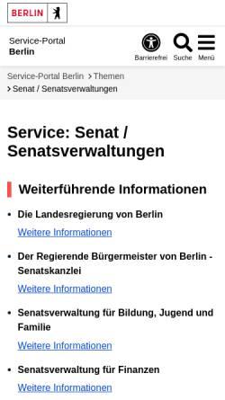 Vorschau der mobilen Webseite www.berlin.de, Senatsverwaltung für Bildung, Wissenschaft und Forschung