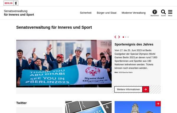 Vorschau von www.berlin.de, Senatsverwaltung für Inneres