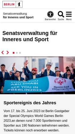 Vorschau der mobilen Webseite www.berlin.de, Senatsverwaltung für Inneres