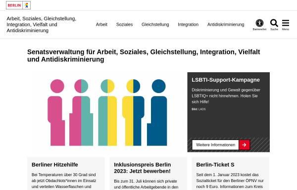 Vorschau von www.berlin.de, Senatsverwaltung für Integration, Arbeit und Soziales