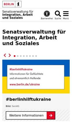 Vorschau der mobilen Webseite www.berlin.de, Senatsverwaltung für Integration, Arbeit und Soziales