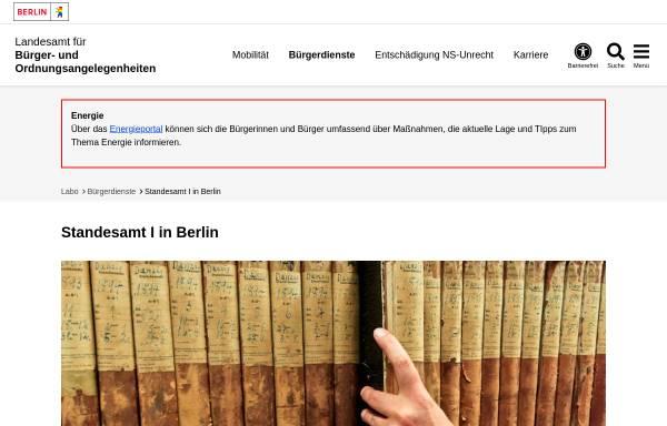Vorschau von www.berlin.de, Standesämter in Berlin