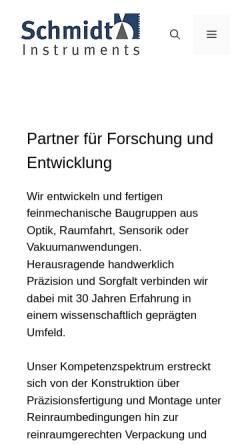 Vorschau der mobilen Webseite www.schmidt-instruments.de, Schmidt Instruments, Inh. Dipl.-Ing. Markus Schmidt