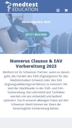 Vorschau der mobilen Webseite www.eignungstest.ch, Eignungstest für das Medizinstudium in der Schweiz (EMS)