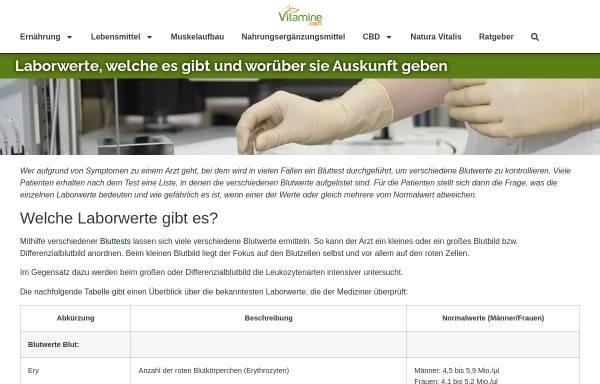 Vorschau von www.laborwerte-verzeichnis.de, Laborwerte-Verzeichnis