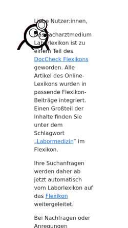 Vorschau der mobilen Webseite www.laborlexikon.de, Lexikon der Labordiagnostik