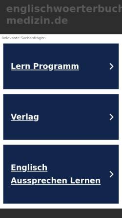 Vorschau der mobilen Webseite www.englischwoerterbuch-medizin.de, Medizin-Wörterbuch Deutsch-Englisch/Englisch-Deutsch