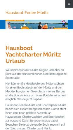 Vorschau der mobilen Webseite www.hausbootferien-mueritz.de, Hausbootferien NEREIDE