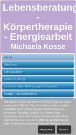 Vorschau der mobilen Webseite www.herzensenergie.de, Michaela Kosse