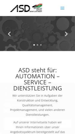 Vorschau der mobilen Webseite www.asd-gmbh.info, ASD GmbH - Automatisation-Service-Dienstleistungen
