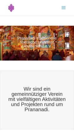 Vorschau der mobilen Webseite www.prananadi-verein.de, Prananadi - Traditionelles Tibetisches Heilwissen