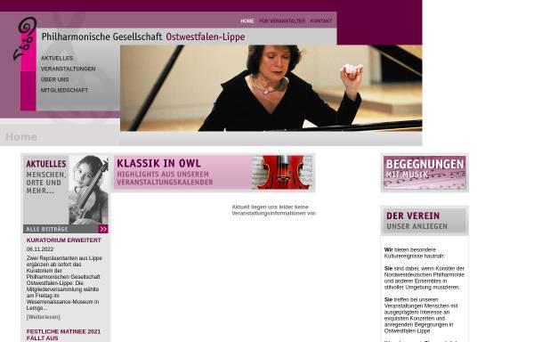Vorschau von www.philharmonische-gesellschaft-owl.de, Philharmonische Gesellschaft Ostwestfalen-Lippe e.V.