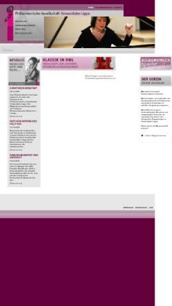Vorschau der mobilen Webseite www.philharmonische-gesellschaft-owl.de, Philharmonische Gesellschaft Ostwestfalen-Lippe e.V.