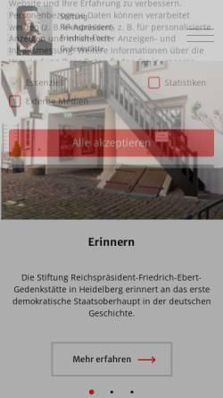 Vorschau der mobilen Webseite www.ebert-gedenkstaette.de, Ebert, Friedrich (1871-1925)