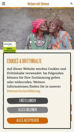 Vorschau der mobilen Webseite www.reisenmitsinnen.de, ONE WORLD Reisen mit Sinnen