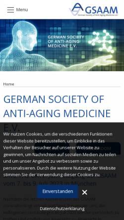 Vorschau der mobilen Webseite gsaam.de, Deutsche Gesellschaft für Anti-Aging-Medizin