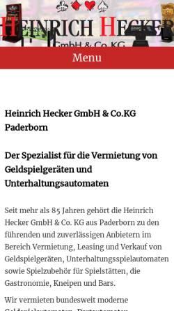 Vorschau der mobilen Webseite www.heinrich-hecker.de, Heinrich Hecker AG & Co. Kommanditgesellschaft
