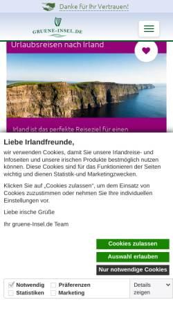 Vorschau der mobilen Webseite www.gruene-insel.de, Grüne Insel, Paul Leahy