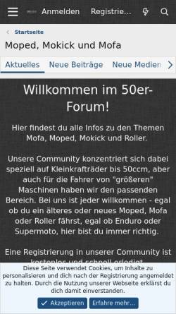 Vorschau der mobilen Webseite www.50er-forum.de, 50er-Forum