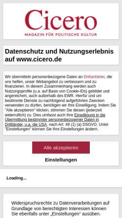 Vorschau der mobilen Webseite www.cicero.de, Cicero - Magazin für politische Kultur