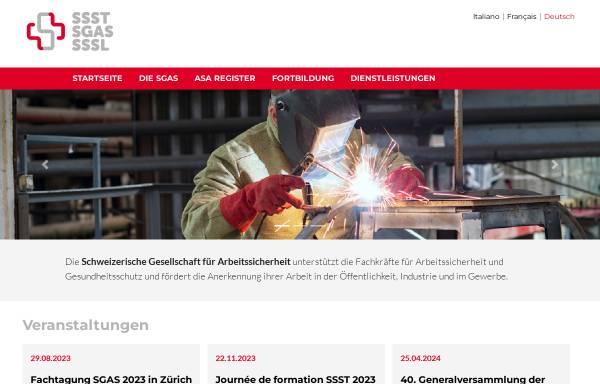 Vorschau von www.sgas.ch, Schweizerische Gesellschaft für Arbeitssicherheit (SGAS)