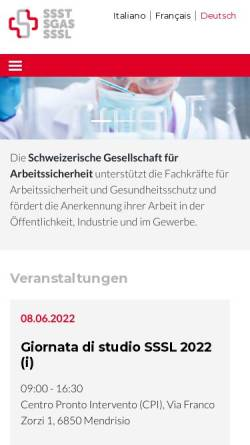 Vorschau der mobilen Webseite www.sgas.ch, Schweizerische Gesellschaft für Arbeitssicherheit (SGAS)